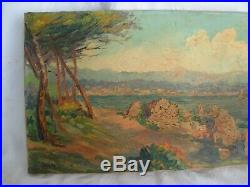 VINTAGE FRENCH OIL PAINTING ON CANVAS, MEDITERRANEAN LANSCAPE, SIGNED, 1950s