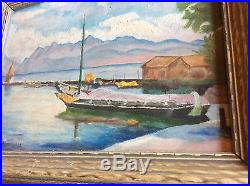VINTAGE Fine Oil Painting SAILBOAT NAUTICAL SIGNED RARE BEAUTY Framed