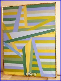 VINTAGE GEOMETRIC ABSTRACT HARD EDGE OIL PAINTING Mid Century Modern Signed