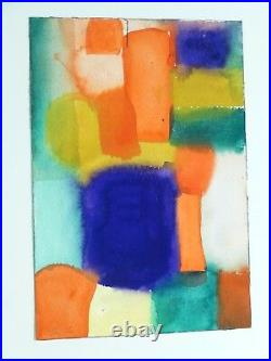 VINTAGE GEOMETRIC ABSTRACT MODERNIST PAINTING Mid Century Modern Signed 1962