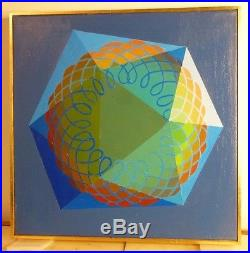 VINTAGE GEOMETRIC ABSTRACT OP ART OIL PAINTING Mid Century Modern Signed