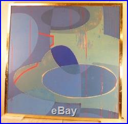 VINTAGE GEOMETRIC ABSTRACT SILKSCREEN PAINTING MID CENTURY MODERN Signed 1970