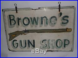 VINTAGE HAND PAINTED 2-SIDED NC WOOD GUN SHOP/STORE SIGN! MUSKET! 3' x 2'! OLD
