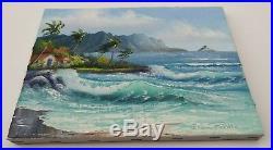 VINTAGE HAWAIIAN OIL PAINTING ERNA PRIMO Surf Chinaman's Hat Island Oahu Hawaii