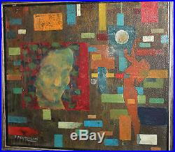 Vintage Italian Abstract Futurist Oil Painting Signed E. Prampolini