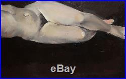 Vintage Italian Modernist Nude Woman Portrait Oil Painting Signed Pirandello