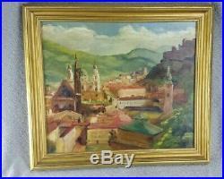 VINTAGE ITALIAN SICILY Landscape Original Oil On Board Signed H N Jemler 1952