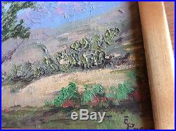 VINTAGE Impressionist Oil Painting Plain Air Desert Cactus Signed Rare Framed