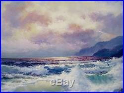 Vintage Large Cailifornia Ocean Sunset Waves Cliffs Seascape Surf Signed Negrete