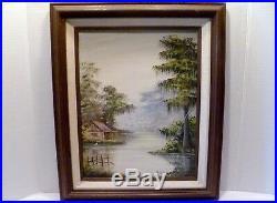 VINTAGE Louisiana RIVER SWAMP Oil Painting PAUL SAMSON Framed RUSTIC CABIN Nola
