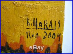 VINTAGE MID CENTURY MODERN SURREAL LANDSCAPE BEACH COASTAL OIL SIGNED R. Morais