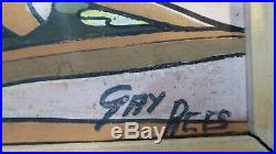 VINTAGE MID CENTURY PAINTING GUACHE ON ART BOARD SIGNED GAY REES 1960s HESSIAN