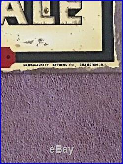 VINTAGE NARRAGANSETT REVERSE PAINTED GLASS ADVERTISING SIGN 1930s 1940