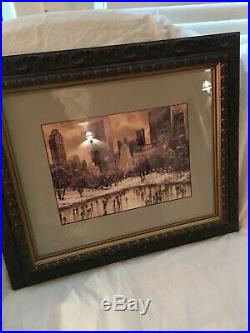 VINTAGE NEW YORK CITY CENTRAL PARK Ice Skating Watercolor Painting. Signed