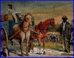 Vintage Oil Paintingblack Americanasigned Wawalkerloading Cotton. The South