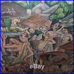 VINTAGE ORIGINAL BALINESE SIGNED PAINTING, BALI PAINTING, UBUD STYLE 38 x 25