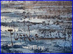 VINTAGE ORIGINAL FRAMED SEASCAPE SEAPORT OIL PAINTING 32 x 28 SIGNED FLORENCE