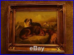Vintage Original Oil Painting Of Dogs With Sheep In Gilded Frame, Signed Robert