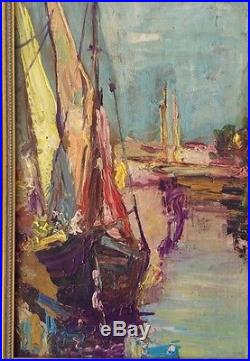 Vintage Original Oil Painting Sailboats Nautical Signed Impressionist Boats