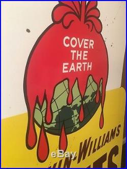 VINTAGE ORIGINAL SCARCE SHERWIN WILLIAMS 60 x 40 PORCELAIN PAINT SIGN +BRACKET