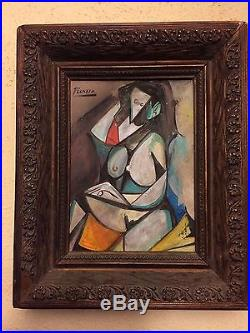 Vintage Pablo Picasso Artist Oil On Canvas Painting Signed Very Nice