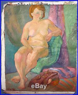 Vintage Polish Modernist Nude Woman Portrait Oil Painting Signed Kisling