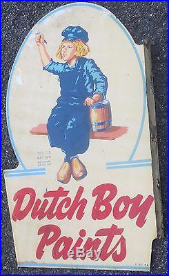VINTAGE RARE 1954 DUTCH BOY PAINT DBL. SIDED METAL SIGN With FLANGE