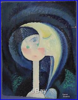 Vintage Romanian Surrealist Portrait Oil Painting Signed Victor Brauner