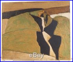 VINTAGE SCULPTURAL ABSTRACT OIL PAINTING MID CENTURY MODERN Signed Listed 1960s