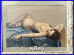 VINTAGE SIGNED FREDERICK THOMPSON NUDE WOMEN LADY OIL PAINTING w WOOD CHIC FRAME