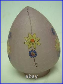 VINTAGE SIGNED HANDEL RARE PINK EGG OVIFORM GLASS LAMP SHADE w FLOWERS 6 3/4