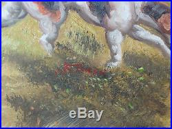 VINTAGE SIGNED OIL PAINTING ENGLISH FOX HUNTING (47x36 inches size)