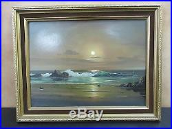 Vintage Signed Peter Cosslett Original Oil On Canvas Moonlight Seascape Painting