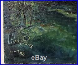 VINTAGE TROPICAL BEACH OIL PAINTING LANDSCAPE SAILBOAT Signed GLADYS SCOTT 1938