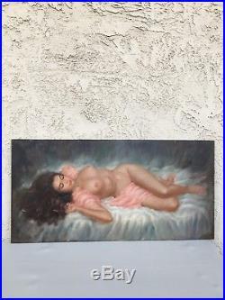 VINTAGE VINCENT LARRY GARRISON LIFE NUDE FEMALE OIL PAINTING SIGNED (1960s)