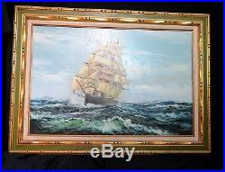 VINTAGE original OIL painting on canvas SEASCAPE sail SHIP signed FRAMED 44x32