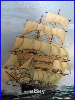 VINTAGE original OIL painting on canvas SEASCAPE sail SHIP signed FRAMED 44x32