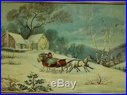 VNTG Oil Painting Victorian Winter Snow Landscape Horse Carriage Signed Canvas