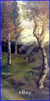 Vtg 1924 Signed Orig Oil Painting Landscape By Ohio Artist Waldon Arnholt