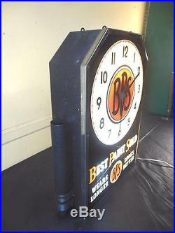 Vtg 1930rare Bps Paint Lighted Electric Advertising Clock Sign Neon Products