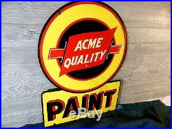 Vtg 1940 Rare Acme Quality Paint 28 Double Sided Enameled Die Cut Metal Sign