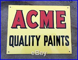 VTG 1950's NOS ACME QUALITY PAINTS TIN SIGN 11 x 8.5 PAINT ADVERTISING N/MINT