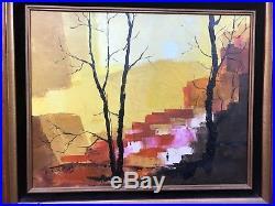 VTG 1960s MODERNIST OIL PAINTING Landscape Mid Century Modern signed Dee Sudbury