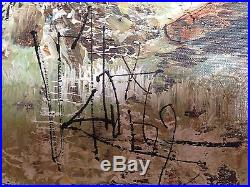 VTG 1969 ORIGINAL Chinese Oil on Canvas Painting Girl, Flowers' Signed 36