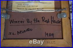 Vtg 1989 Original Painting Janet Munro Winter By The Red House Signed Amish Coun