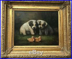 VTG 2 Puppy Dogs w Chicks Figure Signed Oil Painting Canvas OR Giclee Gold Frame