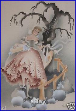 VTG Art Deco Era 1940s Signed BJ Harris Airbrush Painting Watercolor Orig Frame