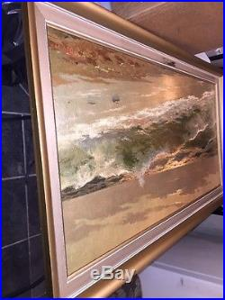 VTG Carlo Rossi Breakers At Sunset Signed Framed Oil Painting 40x 22 NICE