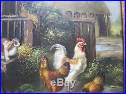 VTG Edgar Hunt School Farm Scene Oil on Wood Painting Rabbit Chickens SIGNED yqz