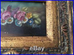 VTG HEDWIG WOLLNER FLOWERS OIL PAINTING w GOLD GILT WOOD PICTURE FRAME SIGNED